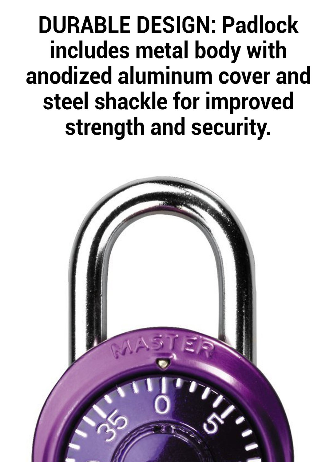 Master Lock Padlock, Standard Dial Combination Lock, 1-7/8 in. Wide, Assorted Colors, 1530T (Pack of 2)