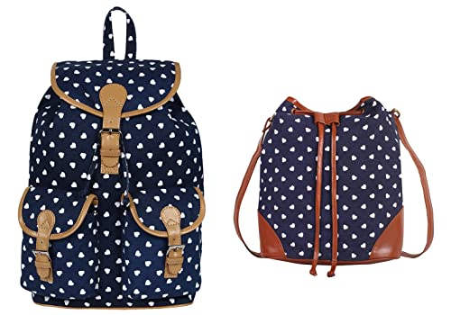 445d6b542f9d Lychee Bags Girls Pack of 2 Canvas Printed Blue Backpack   Blue Sling Bag  (CMB2 LBBPCP25BL LBHBCP81BH)  Amazon.in  Shoes   Handbags