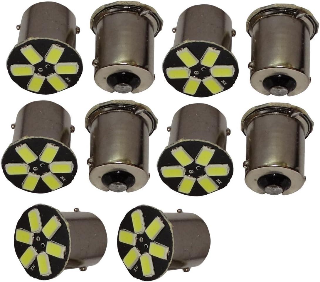 AERZETIX: 10x Bombillas 24V P21W R10W R5W 6LED SMD blanco para camion semirremolque puerta de garaje portal C11772