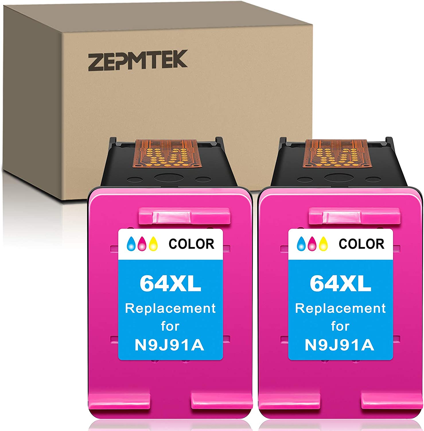 ZepmTek Remanufactured Ink Cartridge Replacement for HP 64XL 64 XL Used with Envy Photo 7800 7858 7155 7855 6255 6252 7158 7130 7164 6222 7120 7130 Tango X Smart Home Wireless Printer (2 Tri-Color)