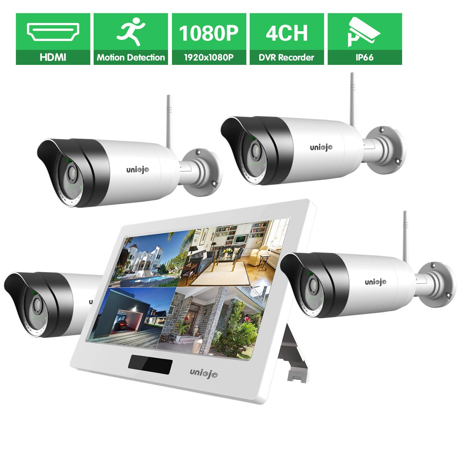 Wireless WiFi Security Camera System (4Pcs), UNIOJO 1080P NVR with 10.1 inches LCD Touch Screen Monitor, 4 HD 2.0 Megapixel Night Vision IP66 Waterproof IP Security Surveillance Camera by UNIOJO