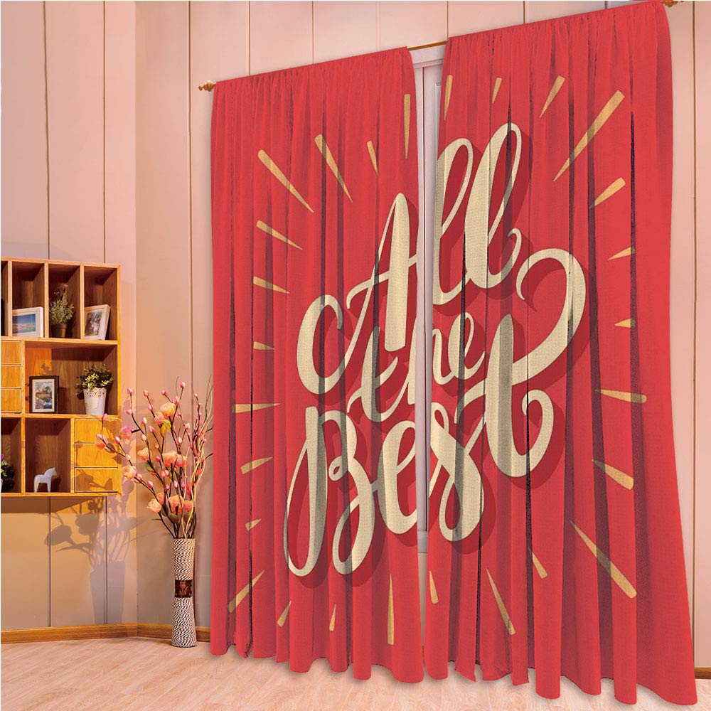 ZHICASSIESOPHIER Modern Style Room Darkening Blackout Window Treatment Curtain Valance for Kitchen/Living Room/Bedroom/Laundry,Retro Hand Letters on Red Background Motivational 84Wx84L Inch