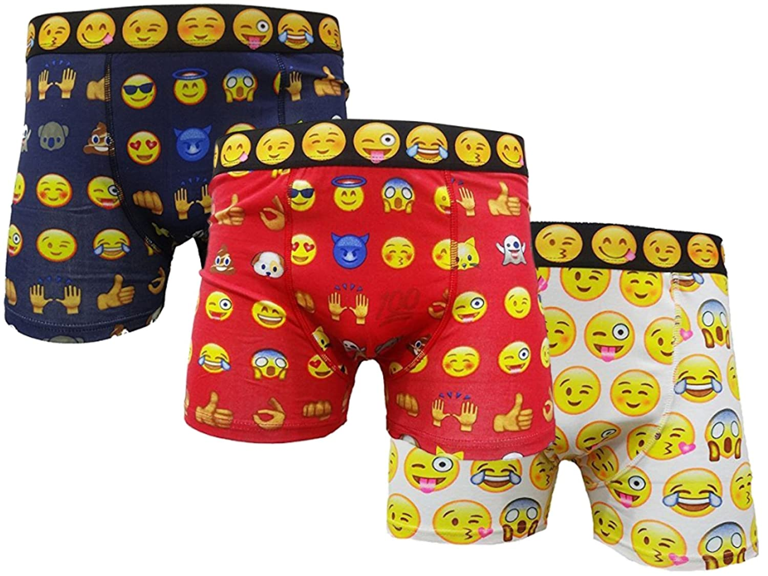 3X Pairs Mens Boys Emoji Design Fun Novelty Boxer Shorts/Small up to XLarge