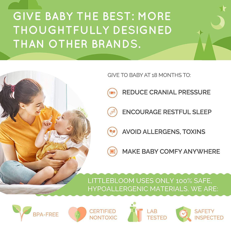 Kinder Kopfkissen von Littlebloom Hypoallergenes ungiftiges Kleinkind-Kissen mit Reisetasche f/ür Kinder ab 18 Monate zur Reduzierung des Sch/ädeldrucks Kinderkissen zertifiziertes
