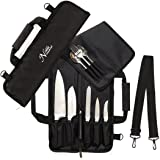 Chef Knife Roll Bag (6 slots) is Padded and Holds 5 Knives PLUS a Protected Pouch for Your Knife Steel Our Durable Knife Carrier Includes Shoulder Strap, Handle, and Business Card Holder. (Bag Only)