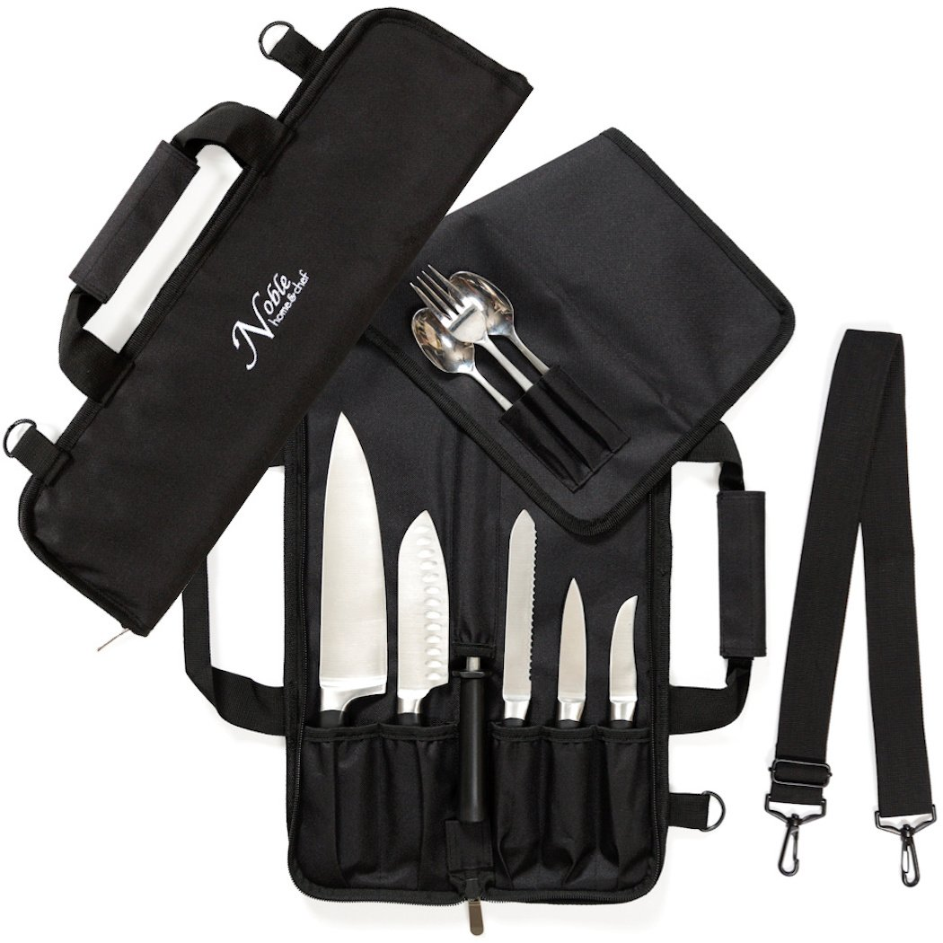 Chef Knife Roll Bag (6 slots) is Padded and Holds 5 Knives PLUS a Protected Pouch for Your Knife Steel! Our Durable Knife Carrier Includes Shoulder Strap, Handle, and Business Card Holder. (Bag Only) by Noble Home & Chef