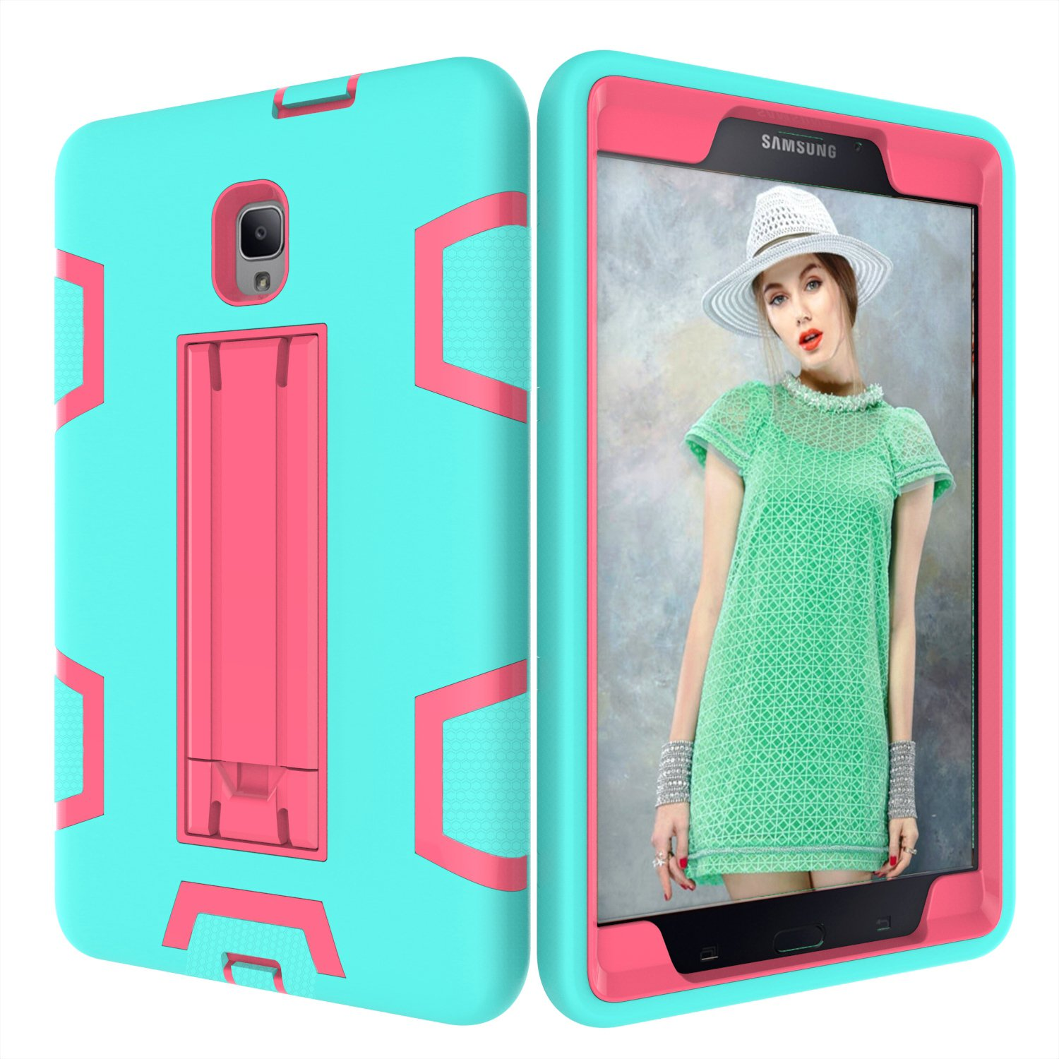 PPSHA Samsung Galaxy Tab A 8.0 2017 Case, High Impact Armor Heavy Duty Hybrid Shockproof Protection Cover Built With Stand for Galaxy Tab A 8.0 (SM-T380/T385) 2017 Release (Teal+Rose) by PPSHA (Image #2)