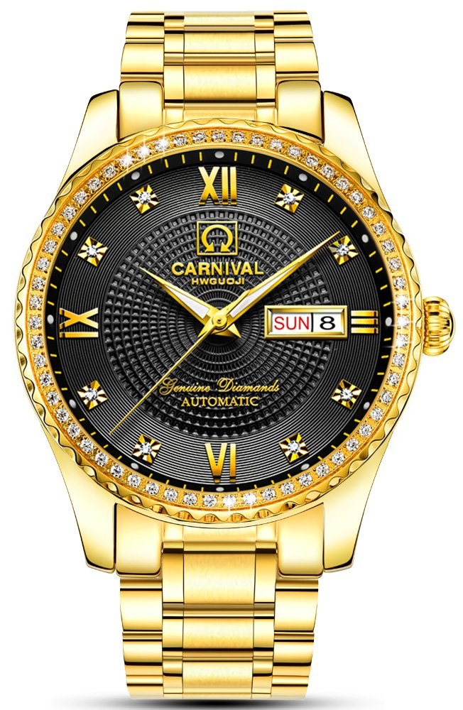 Men's Analog Luminous and Bezel Inlay Rhinestones Fashion Business Automatic Mechanical Calendar Watch (All Gold-Black) by Carnival