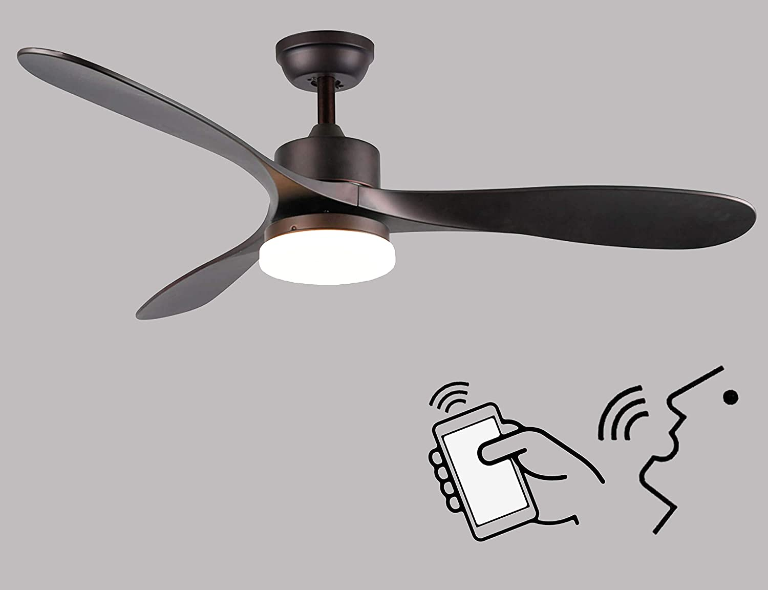 52 Inch Smart Alexa Ceiling Fan with Light Work with Alexa and Google Assistant for Living Room and Bedroom, Dark Brown Finish with LED Daylight and Acrylic Lampshade.