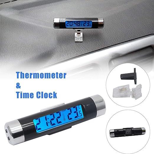 MASO - Reloj Digital Universal para salpicadero de Coche con luz Negra y Pantalla LCD, medidor de Temperatura Ajustable para vehículos, ...