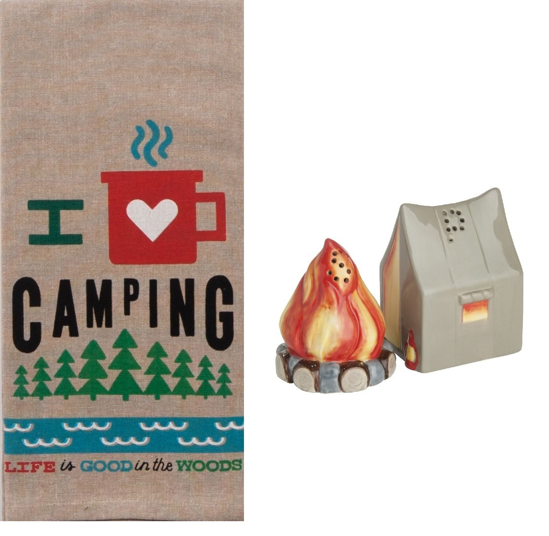 Camping 3 Piece Kitchen Bundle, Dish Towel with Salt and Pepper Shakers by DHE (Image #1)