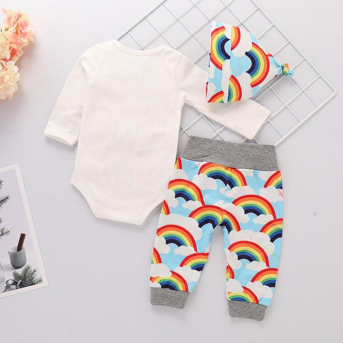 WARMSHOP Baby Girls Letter Print Rainbow Bodysuit Long Sleeve Tops Pants and Hat 3 PC Outfits Set