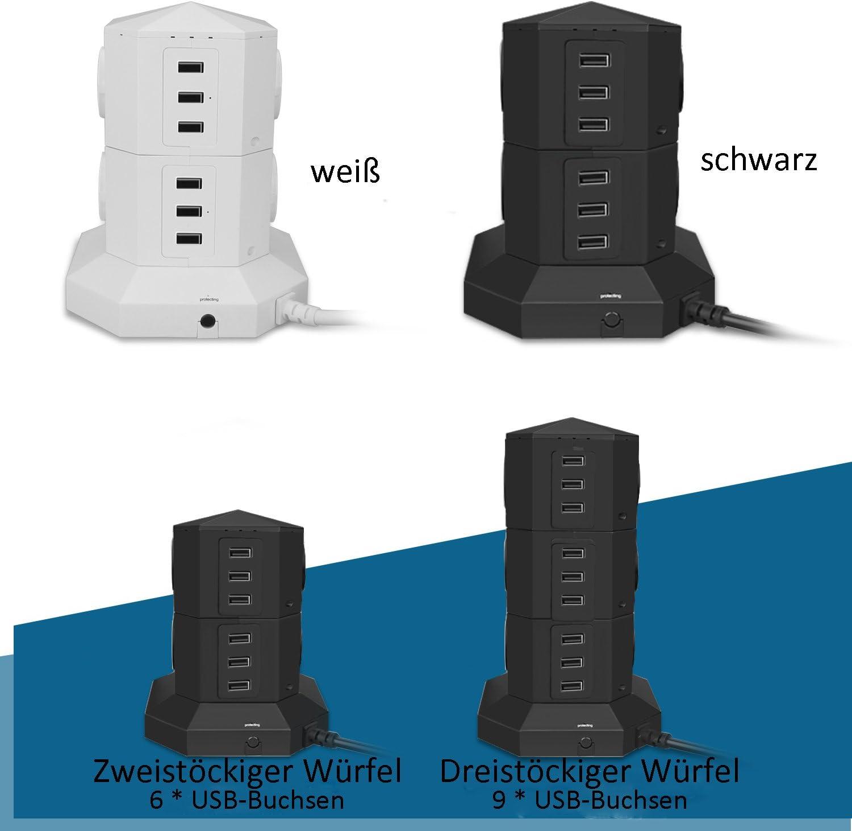 2500W//2M C/âble Tour Multiprise Parasurtenseur Parafoudre,Multiprise USB avec 6 Prises Electrique et 6 Ports 5V 2,4A Protection jusqu/à 3500 Joules,Fireproof USB