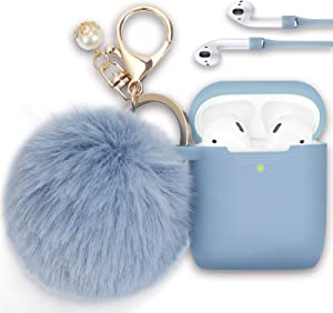 Filoto Case for Airpods, Airpod Case Cover for Apple Airpods 2&1 Charging Case, Cute Air Pods Silicone Protective Accessories Cases/Keychain/Pompom/Strap, Best Gift for Girls and Women, Gray Blue