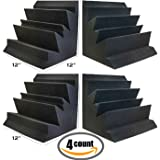 "Set of 4 - Acoustic Foam Bass Trap Studio Soundproofing Corner Wall 12"" x 12"" x 12"""