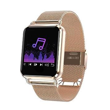 Reloj inteligente para hombres mujeres niños, Bluetooth Smartwatch con banda de acero inoxidable, IP67 pulsera impermeable podómetro monitor de ritmo ...
