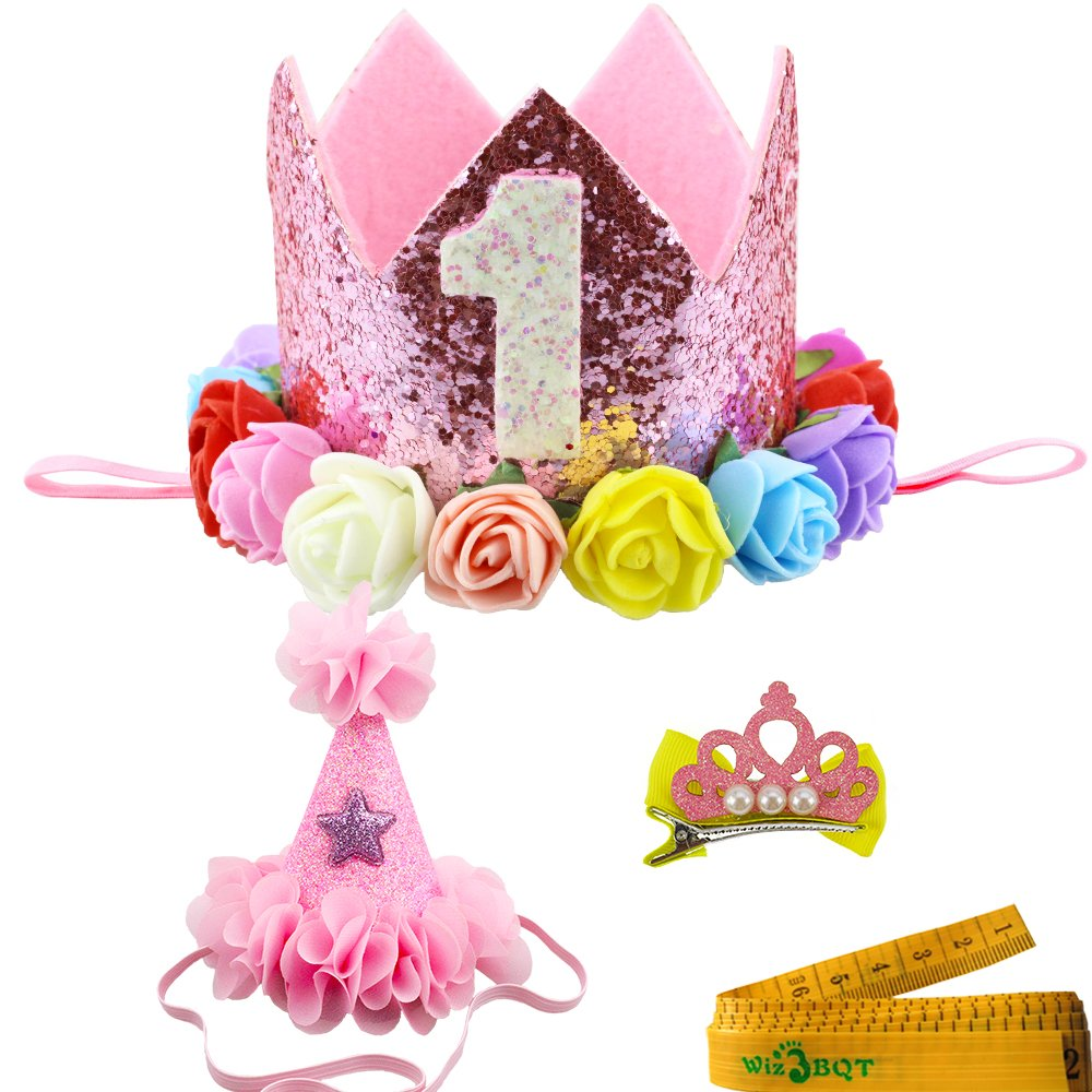 2 Pcs Adorable Cute Crown Shaped Cat Dog Pet 1 Year Birthday Headband and Pink Star Hair Head Bands Accessories for Dogs Cats Pets (Pink)