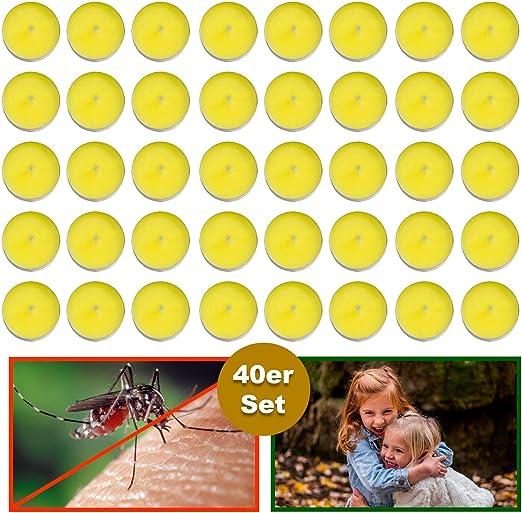 esto24® - Juego de 40 Velas aromáticas de citronela, para Exteriores, antimosquitos e Insectos, Ideal para balcón, terraza, jardín y Camping: Amazon.es: Jardín