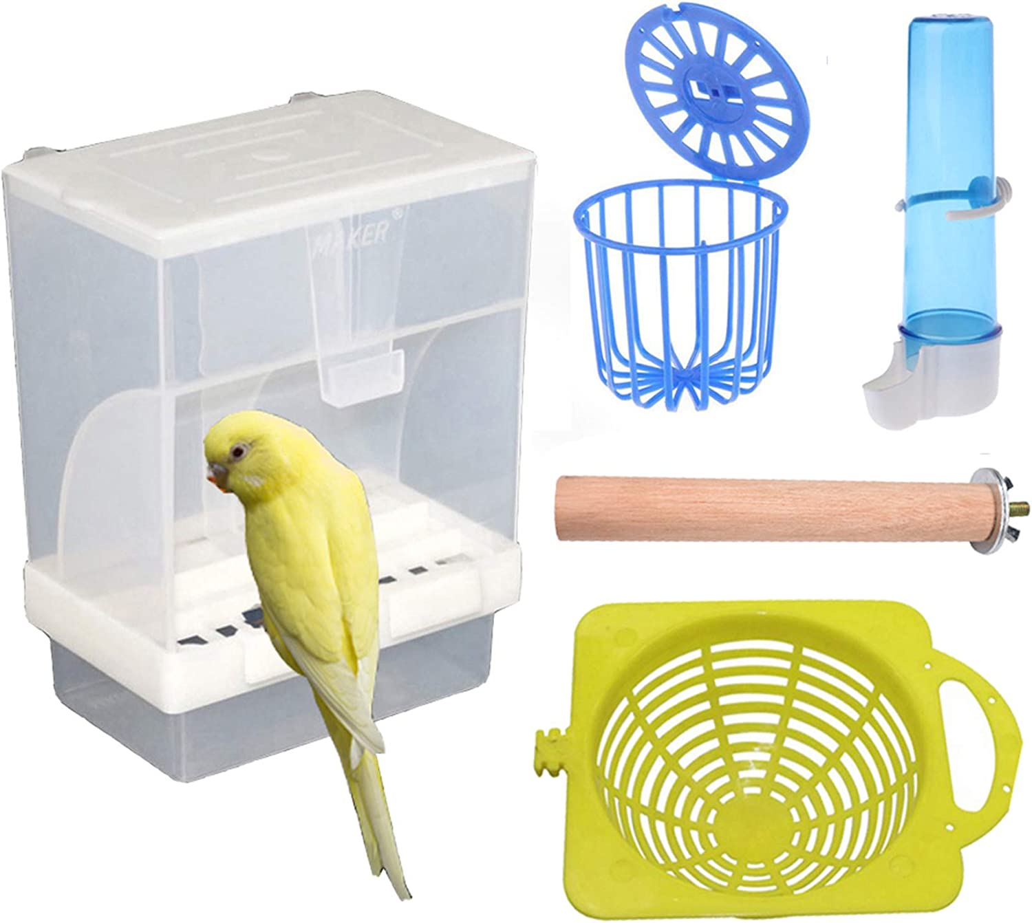 Hamiledyi Parrot Feeder Cage Accessories Supplies Automatic Bird Feeder Fruit Vegetable Holder Cage Hanging Basket Water Dispenser Parakeet Cage Perch for Small Cockatiels Lovebirds