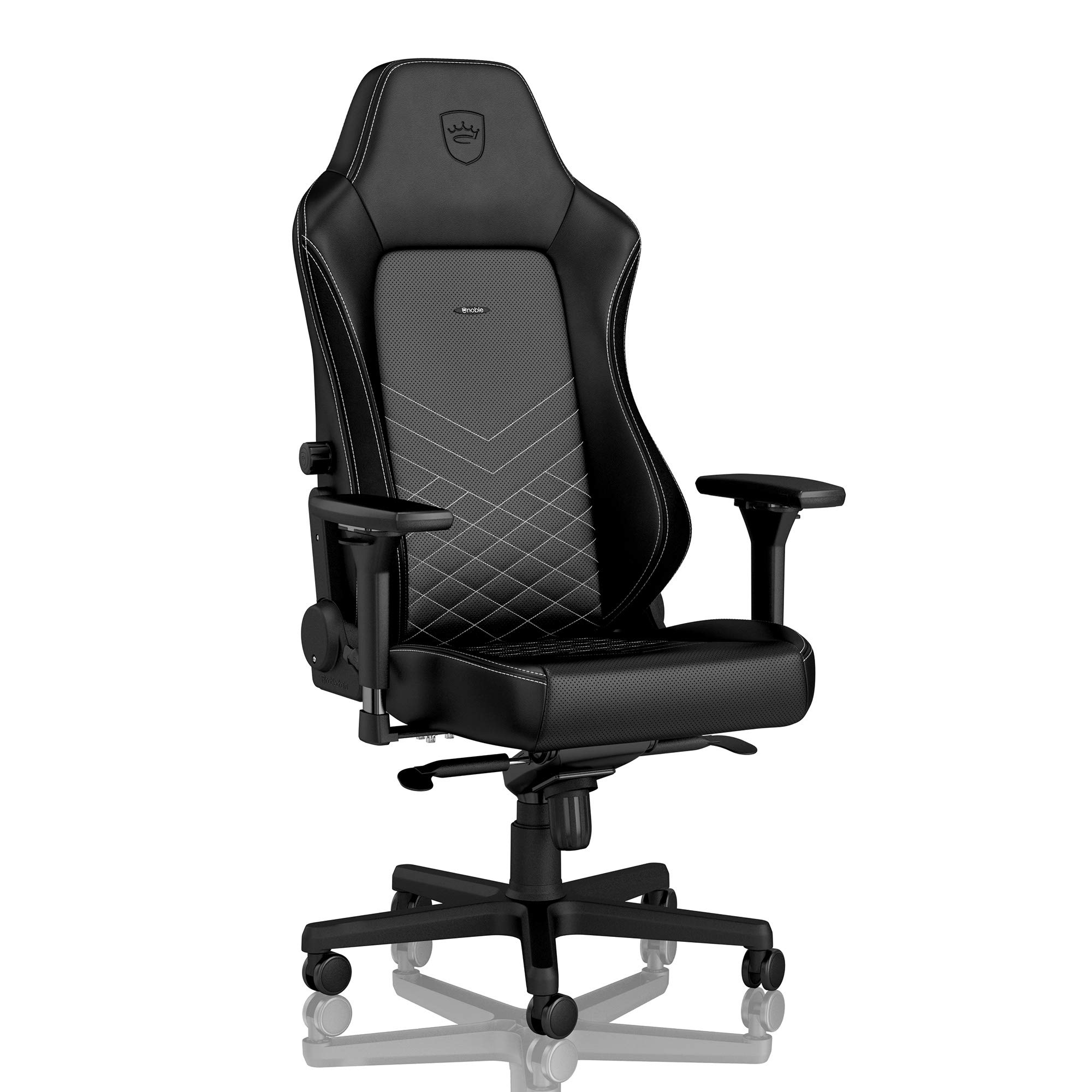 noblechairs Hero Gaming Chair - Office Chair - Desk Chair - PU Leather - 330 lbs - 135° Reclinable - Lumbar Support - Racing Seat Design - Black/Platinum White