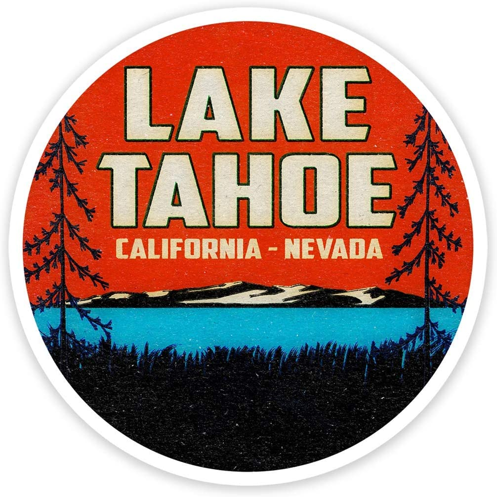 "Lake Tahoe California Nevada 3"" Vinyl Decal Sticker Vintage Style Distressed Laptop Bumper"