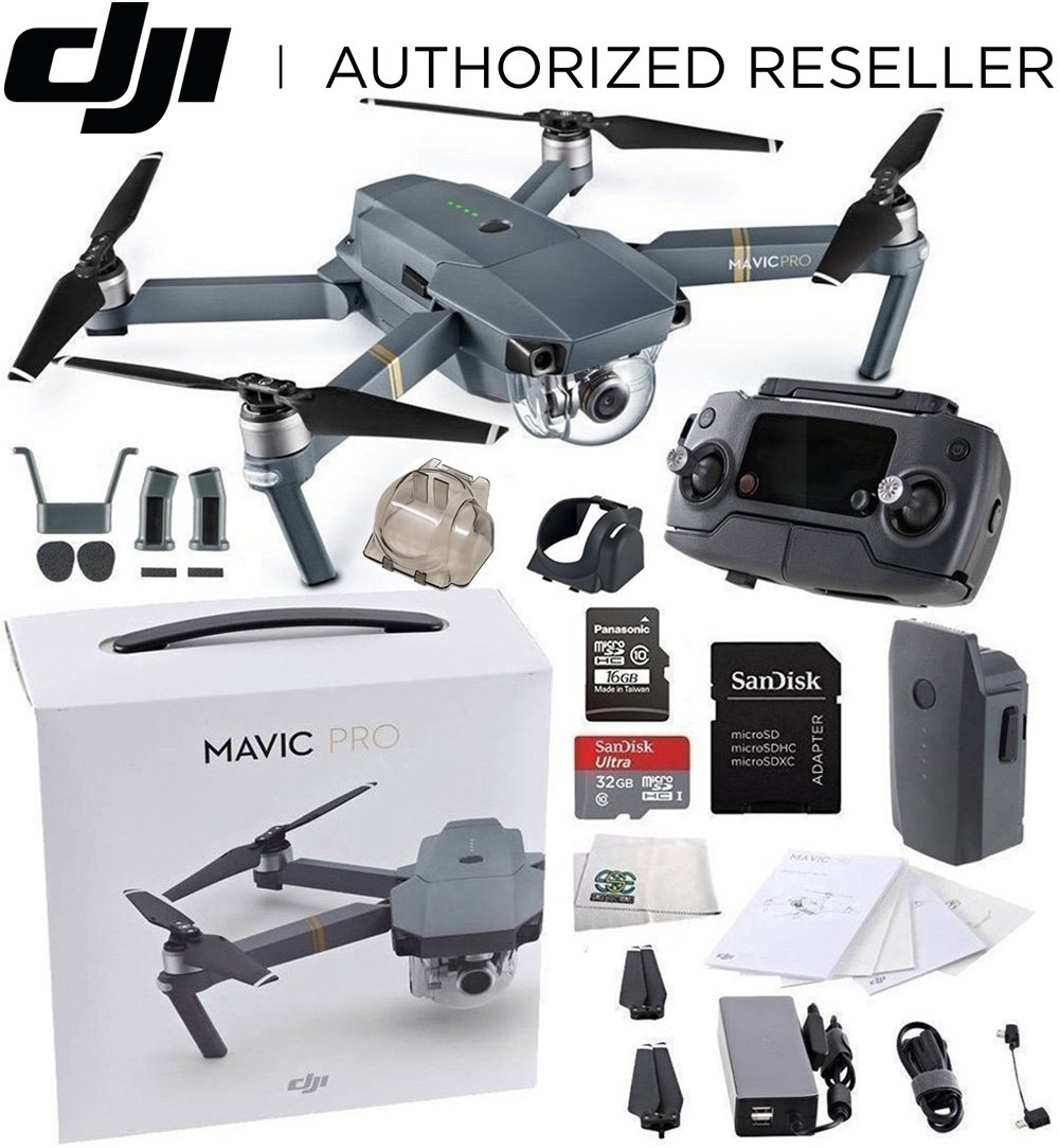 Dji Mavic Pro Collapsible Quadcopter Drone Starters Bundle With Folding Propellers Remote Controller Intelligent Flight Battery