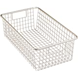 InterDesign Forma Household Wire Storage Basket with Handles – Organizer for Kitchen Cabinets, Pantry or Bathroom Shelves - Large, Satin
