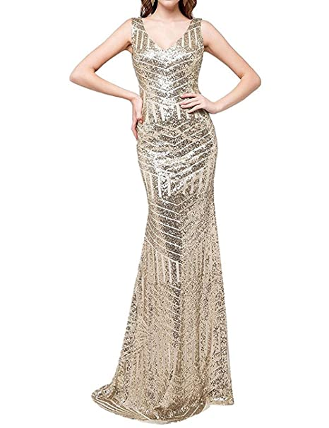 ea3d330862a DYS Women s Sequins Bridesmaid Dresses for Wedding Long Prom Evening Gowns  Champagne ...