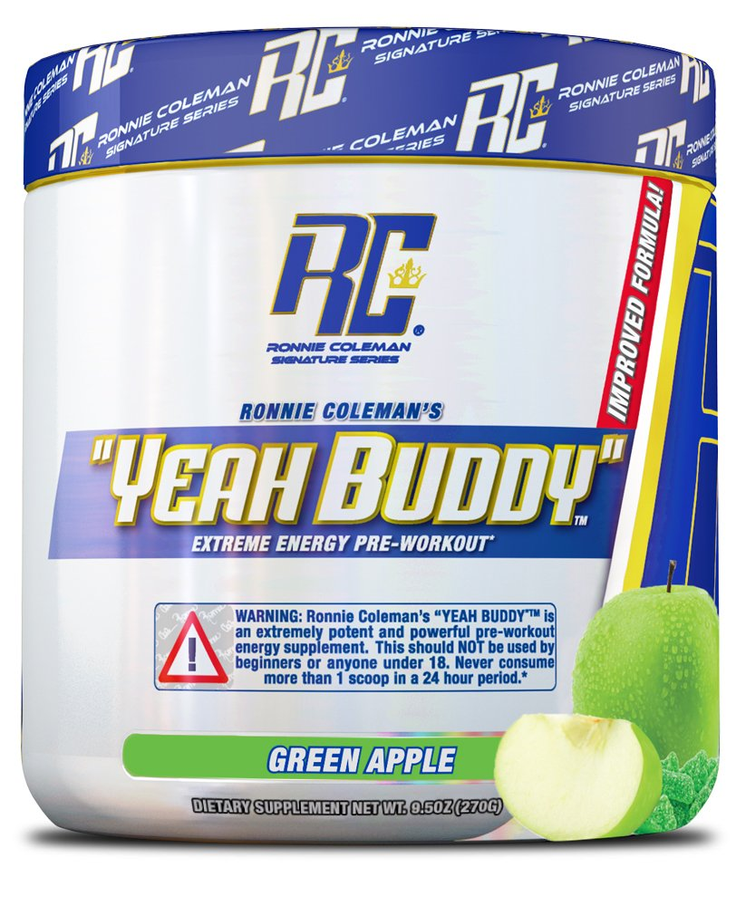 YEAH BUDDY PRE WORKOUT - Extreme Non Crash Sustained Energy Preworkout & Nitric Oxide Supplement with Extended Release Caffeine, TeaCrine and Agmass, Green Apple, 30 Serving by Ronnie Coleman Signature Series