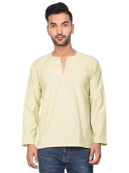 fe581c498fa7 SKAVIJ Cotton Kurta Tunic Casual Shirt for Men Cream Indian Yoga Ethnic  Clothing -M