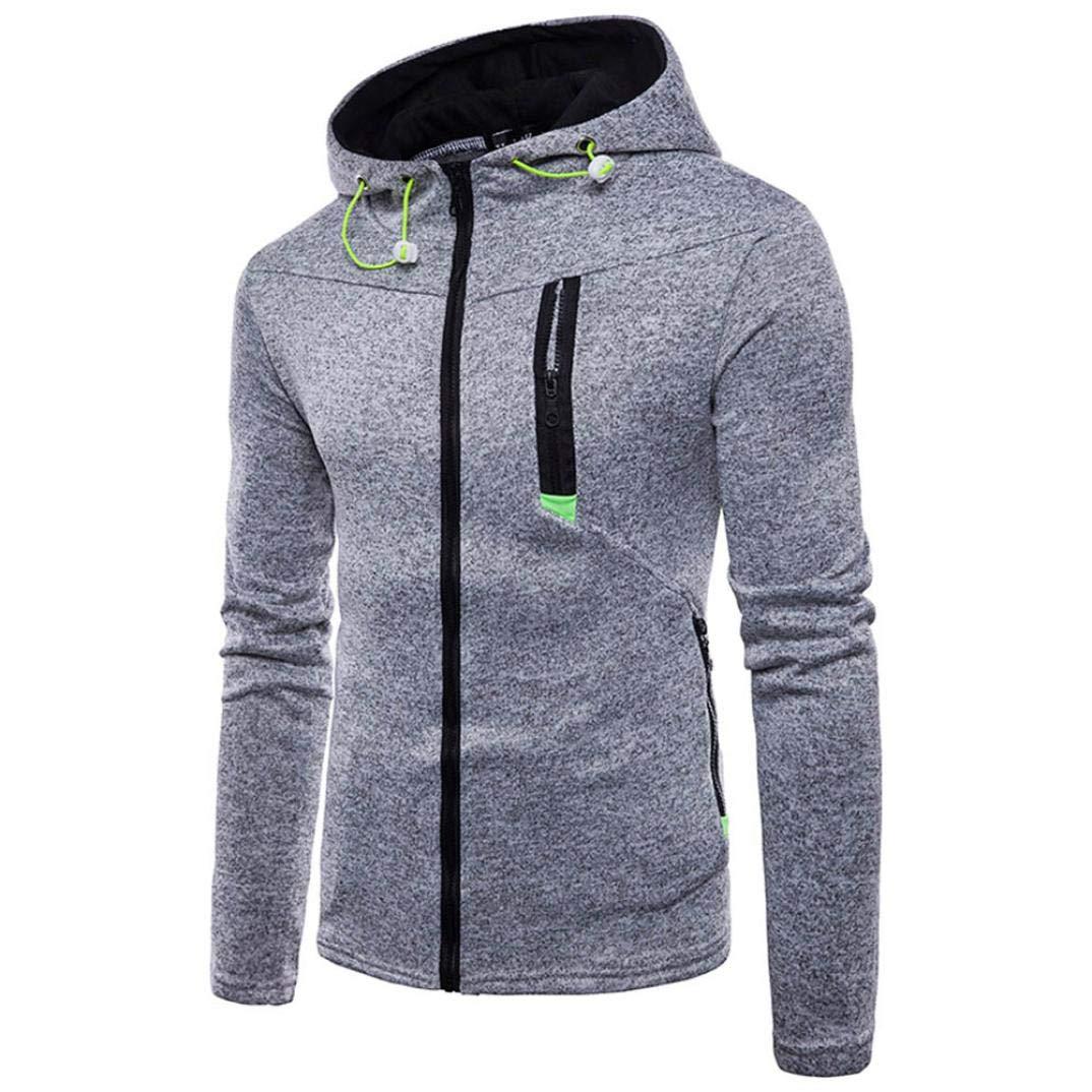 Hooded,kaifongfu Long Sleeve Plaid Hoodie Hooded Sweatshirt Tops Jacket Coat Outwear (Gray, L)