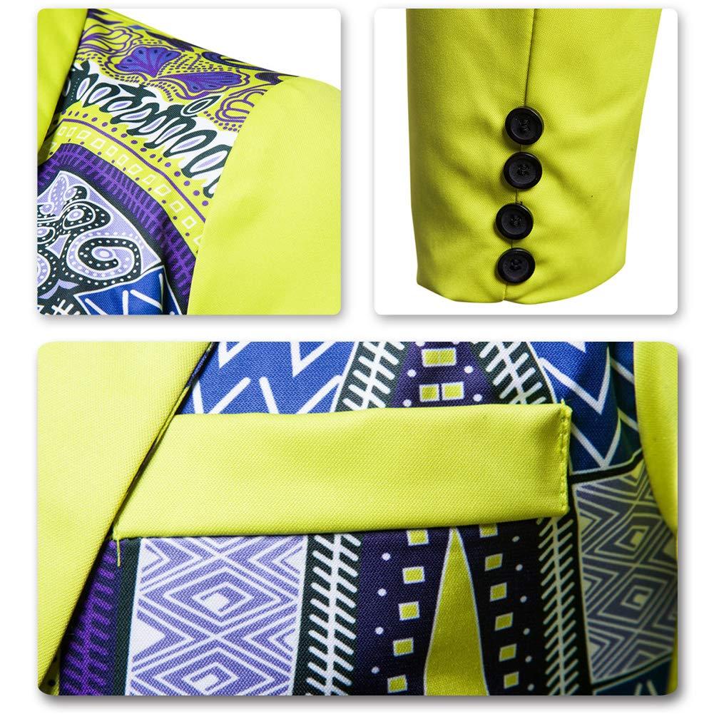 AOWOFS Mens Print One Button Slim Fit Blazer Ethnic Style Party Fashion Dress Suit Jacket