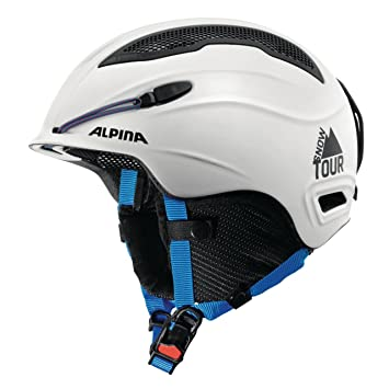ALPINA Snow Tour Casco, Blanc/Bleu Mat