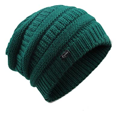 YANIBEST Wool Slouch Beanie Hats for Women - Ladies Knitted Baggy Chunky  Ski hat Green  Amazon.co.uk  Clothing f41a55c110