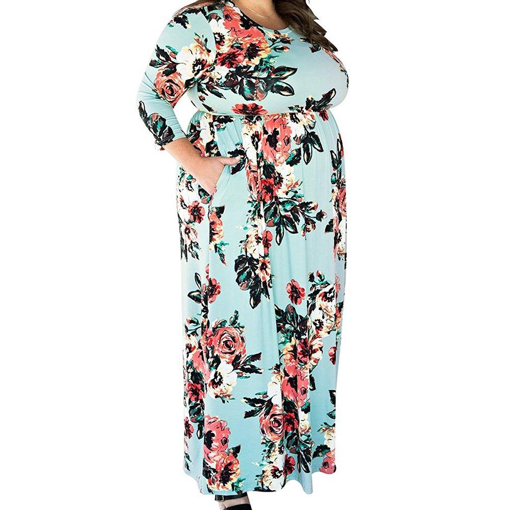 Lover-Beauty Damen Maxikleid Große Größen Kleid V-Ausschnitt Halbarm ...
