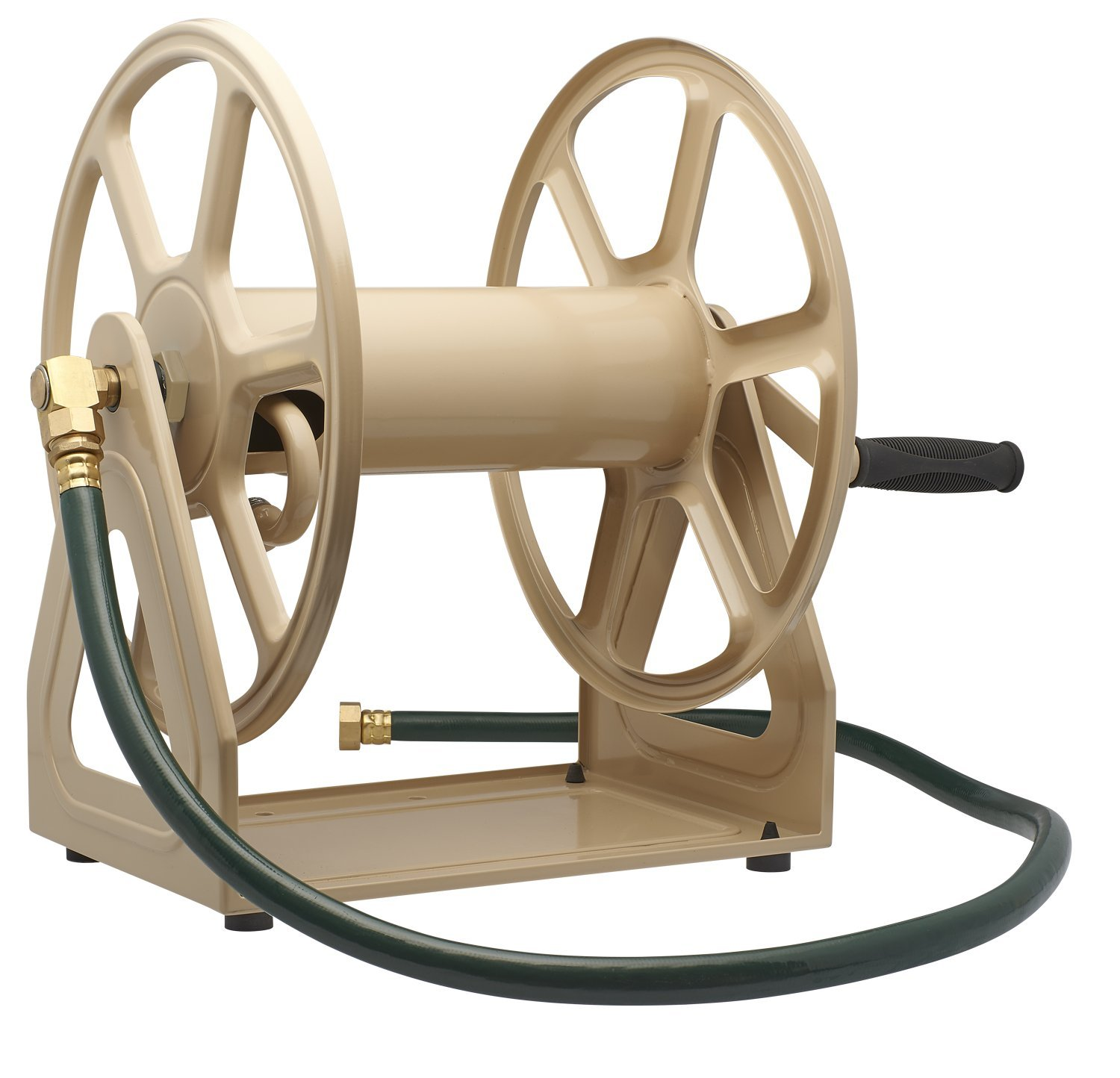 Liberty Garden 709 Steel Wall/Floor Mounted Hose Reel, Holds 200-Feet of 5/8-Inch Hose - Tan by Liberty Garden Products