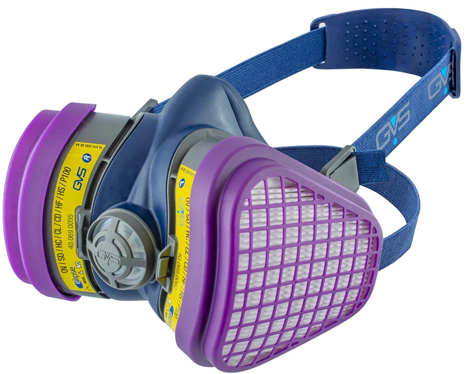 GVS SPR473 Elipse OV/AG-P100 Dust and Organic/Acid Gas Vapour Half Mask Respirator with Replaceable and Reusable Filters Included by GVS Elipse