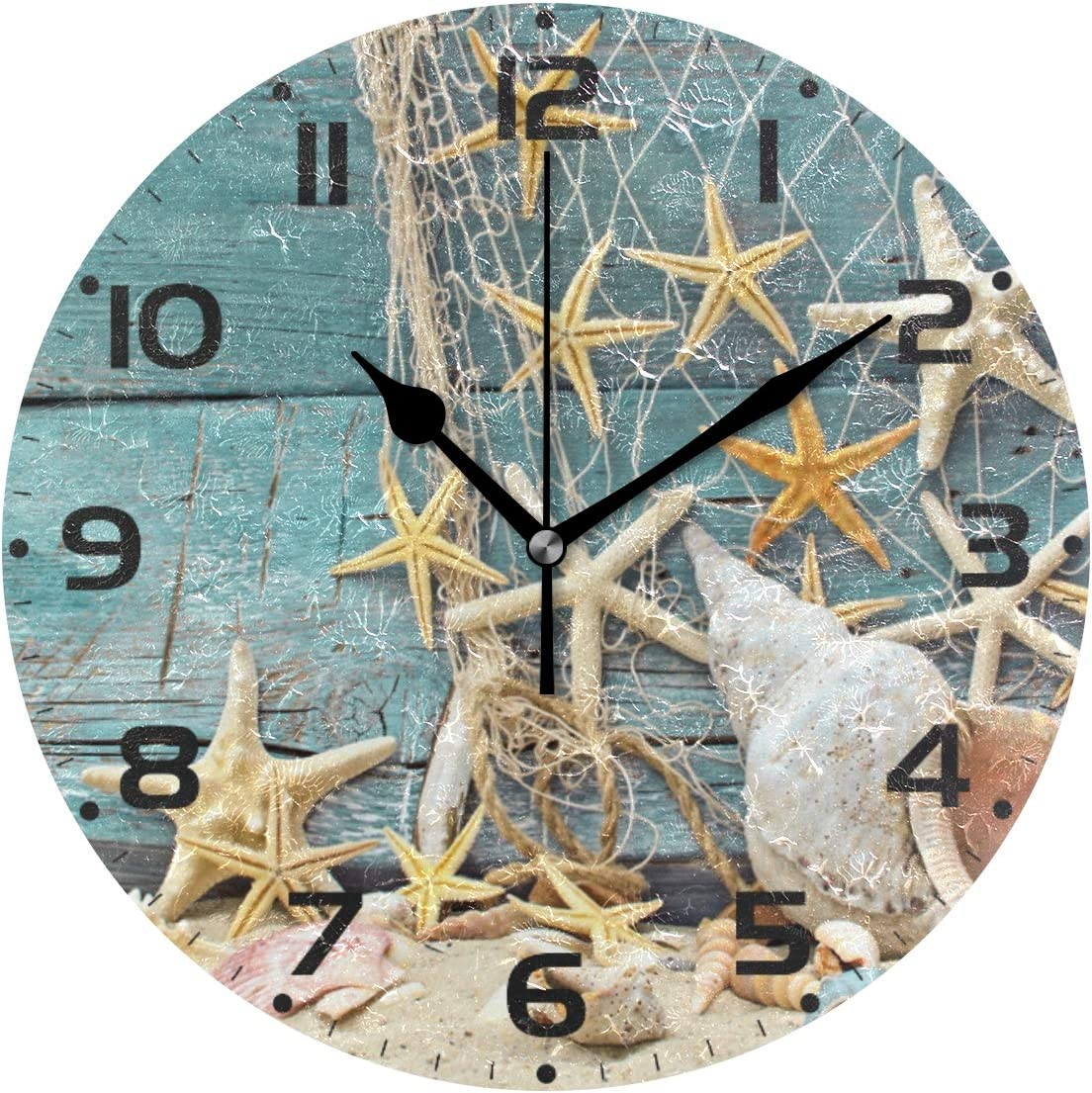 Ollabaky Ocean Theme Decorative Wall Clocks Battery Operated Silent Desk  Clock, Sea Shells 12 Inch Non Ticking Clock for Office School Home Round  Wall ...