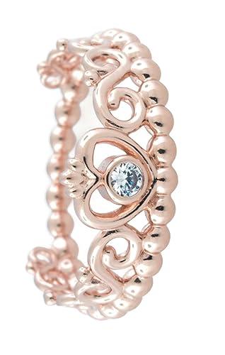 Pandora mi princesa Tiara anillo, Pandora rosa, claro CZ, 4,5 US, 180880 cz-48: Amazon.es: Relojes