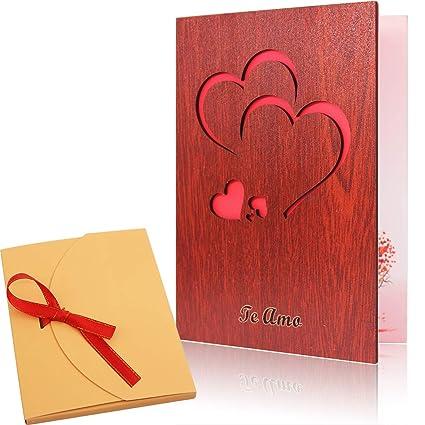 Tarjeta de felicitación amorosa de madera de nogal hecha a mano de Creawoo con caja tarjeta regalo única – La mejor idea de regalo para cumpleaños, ...