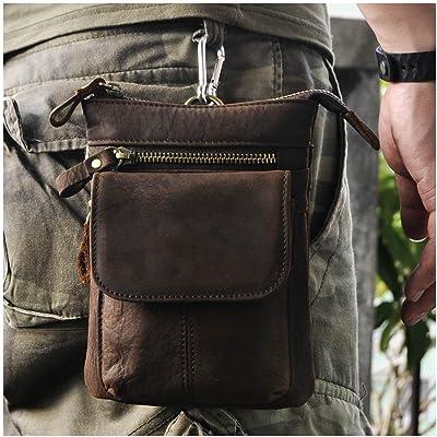afc03047dfb0 Le'aokuu Mens Genuine Leather Fanny Small Shoulder Satchel Hook ...