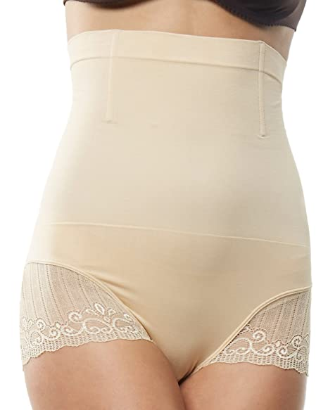 5651df3122f Beilini Women s Tummy Control Panties High Waisted Short Shapewear W  Lace  Nude S