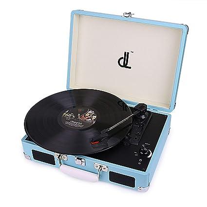 Tocadiscos dl Record Player con 3 velocidades 33/45/78 Vinyl Tturntable Portátil de Madera Vintage con Altavoces Estéreo Incorporados,Grabadora de PC, ...
