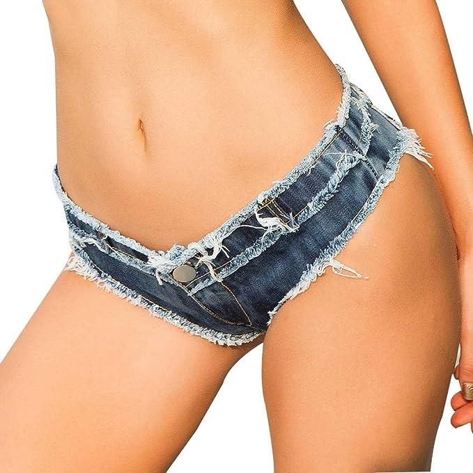 f413fdab6a Women's Mini Hot Pants, Sexy Cut Off Frayed Raw Hem Ripped Low Rise Shorts,  Super Mini Denim Shorts at Amazon Women's Clothing store: