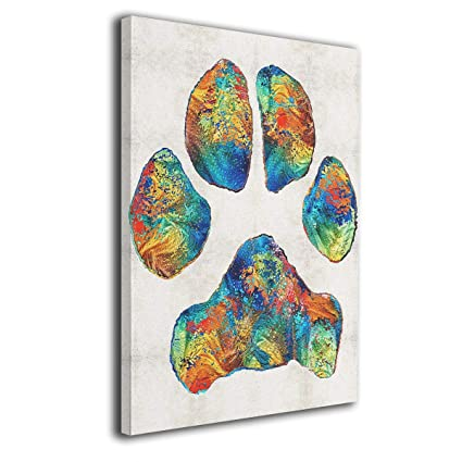 1e43f4c0f362 Amazon.com: Colorful Dog Paw Print Painted Canvas Picture Prints for ...