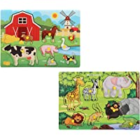Knack Wooden Educational Puzzles for Kids (Farm & Wild Animals)