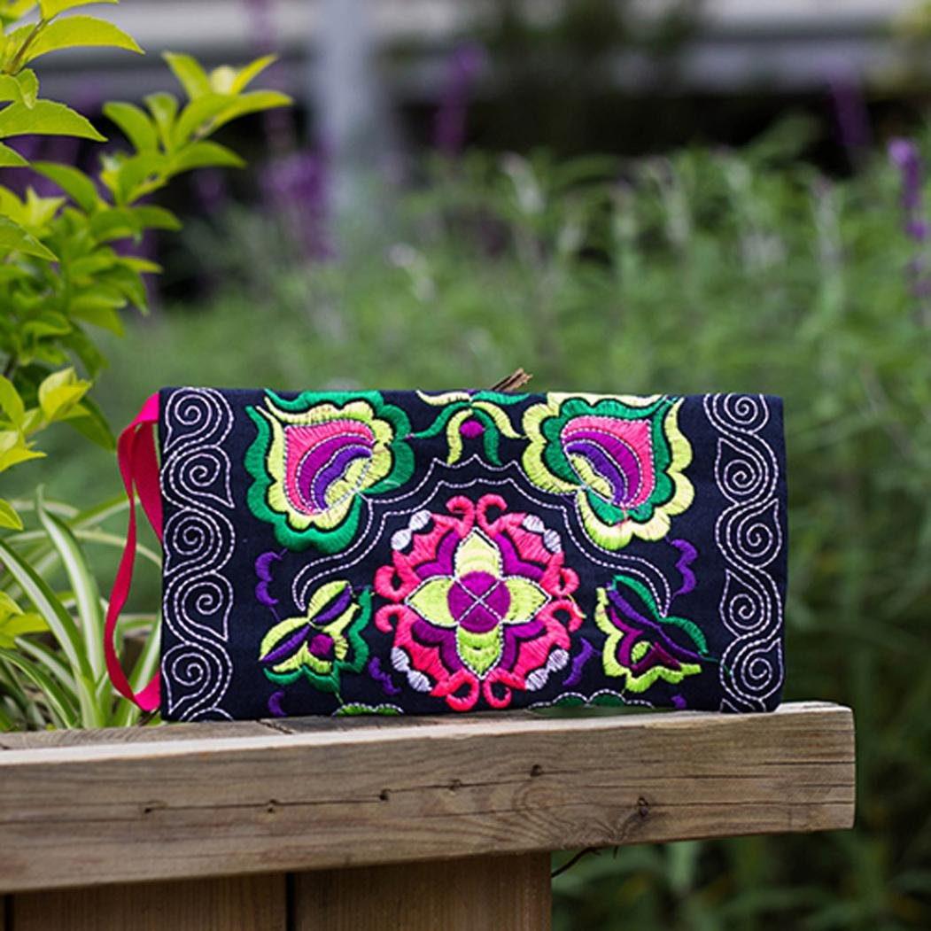 Black GBSELL Women Ethnic Handmade Embroidered Wristlet Clutch Bag Vintage Purse Wallet