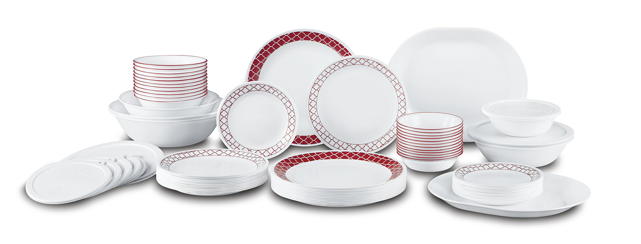 Corelle Livingware 74 Piece Crimson Trellis Dinnerware Set with Storage Lids, White