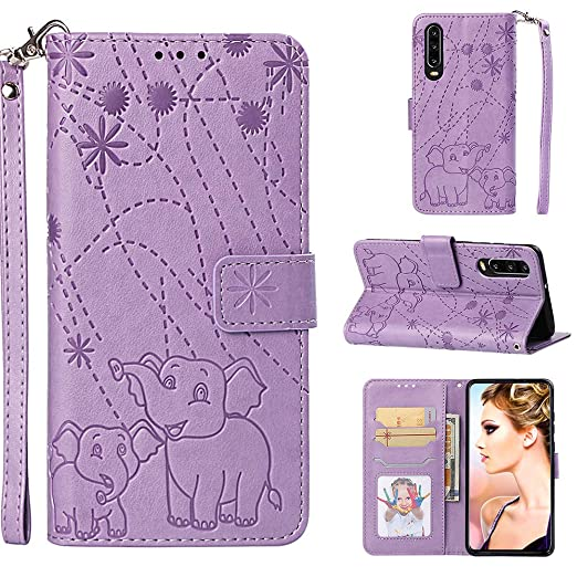 YKTO Vegan Leder Wallet Case Huawei P30 6.1 Zoll Hülle Feuerwerk Elefant Muster Prägung Geldbörse Handyhülle Premium Tasche S