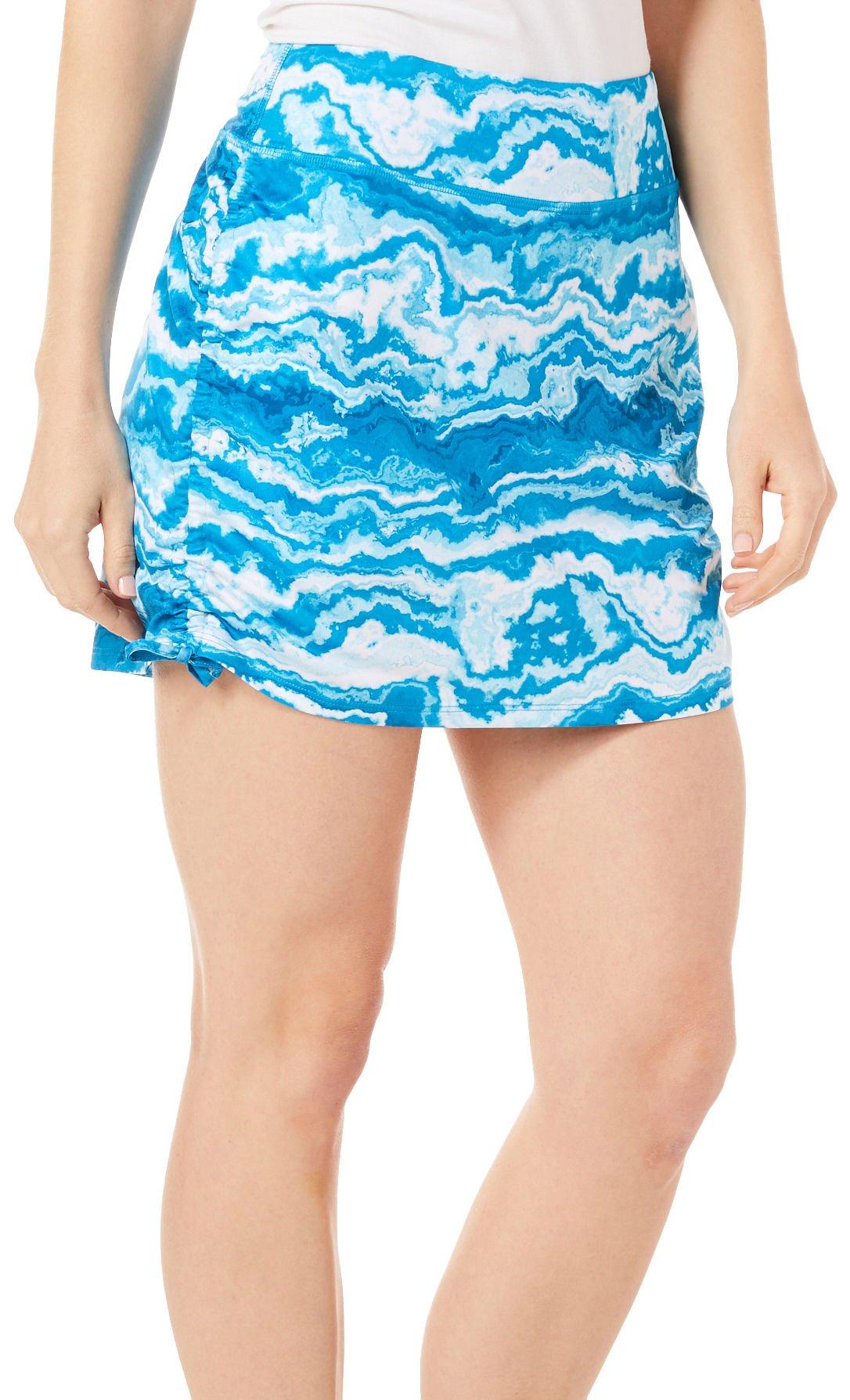 Reel Legends Petite Keep It Cool Agate Print Ruched Skort Medium Petite Blue/White